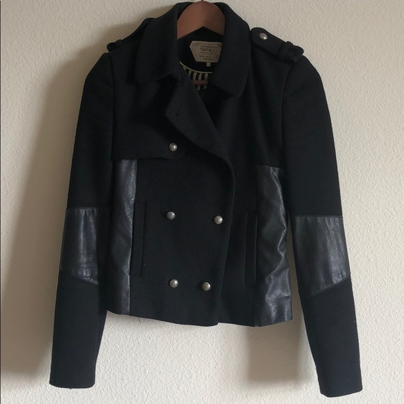 Zara leather mixed blazer